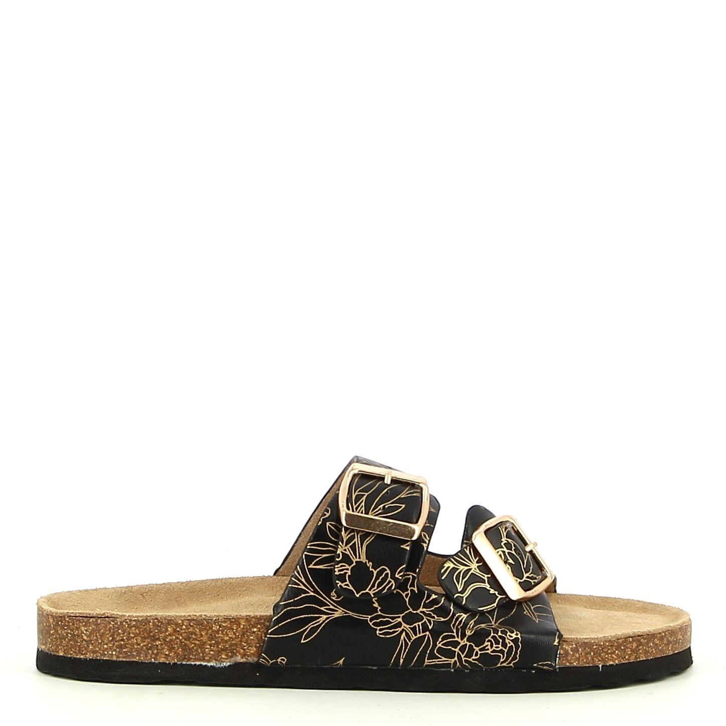 Ken Shoe Fashion - Zwart/Goud - Instappers