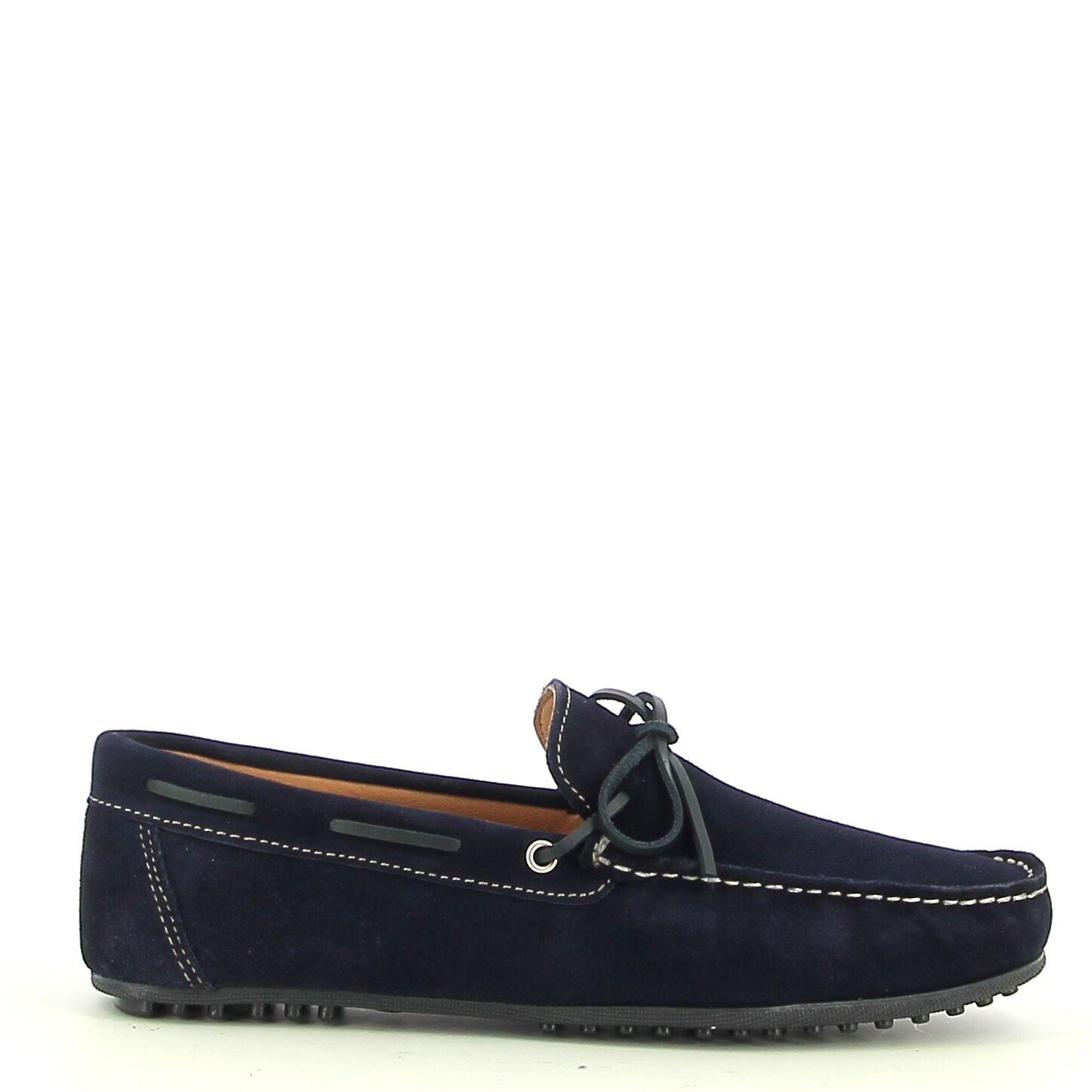 Ken Shoe Fashion - Navy mocassins met zwarte details