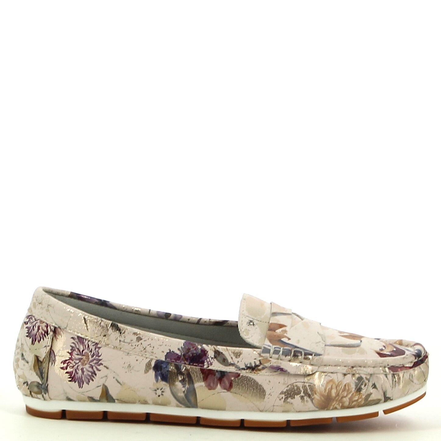 Ken Shoe Fashion - Beige met bloemenmotief - Instappers/Mocassins