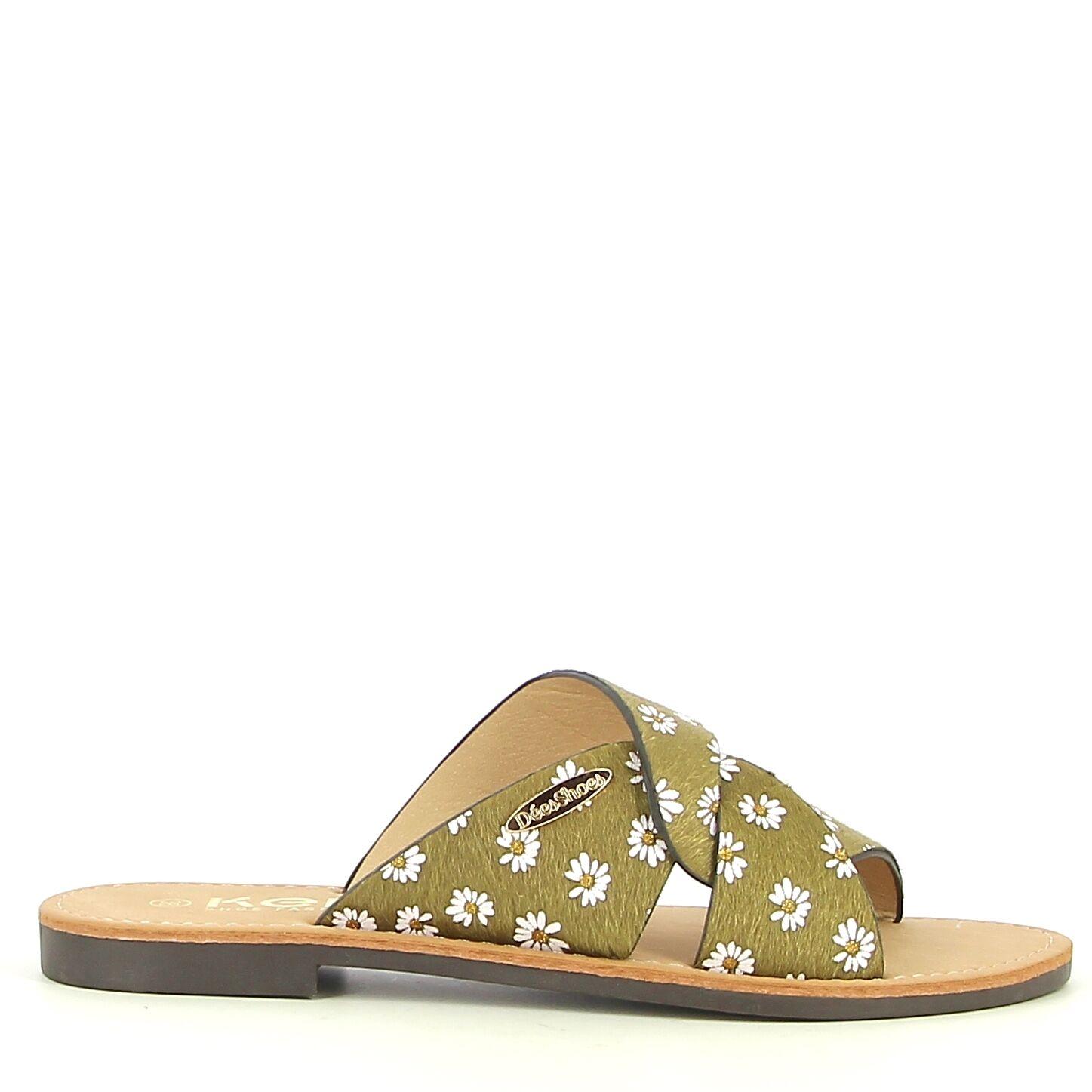 Ken Shoe Fashion - Nu-Pieds - Kaki/Motif Fleuri