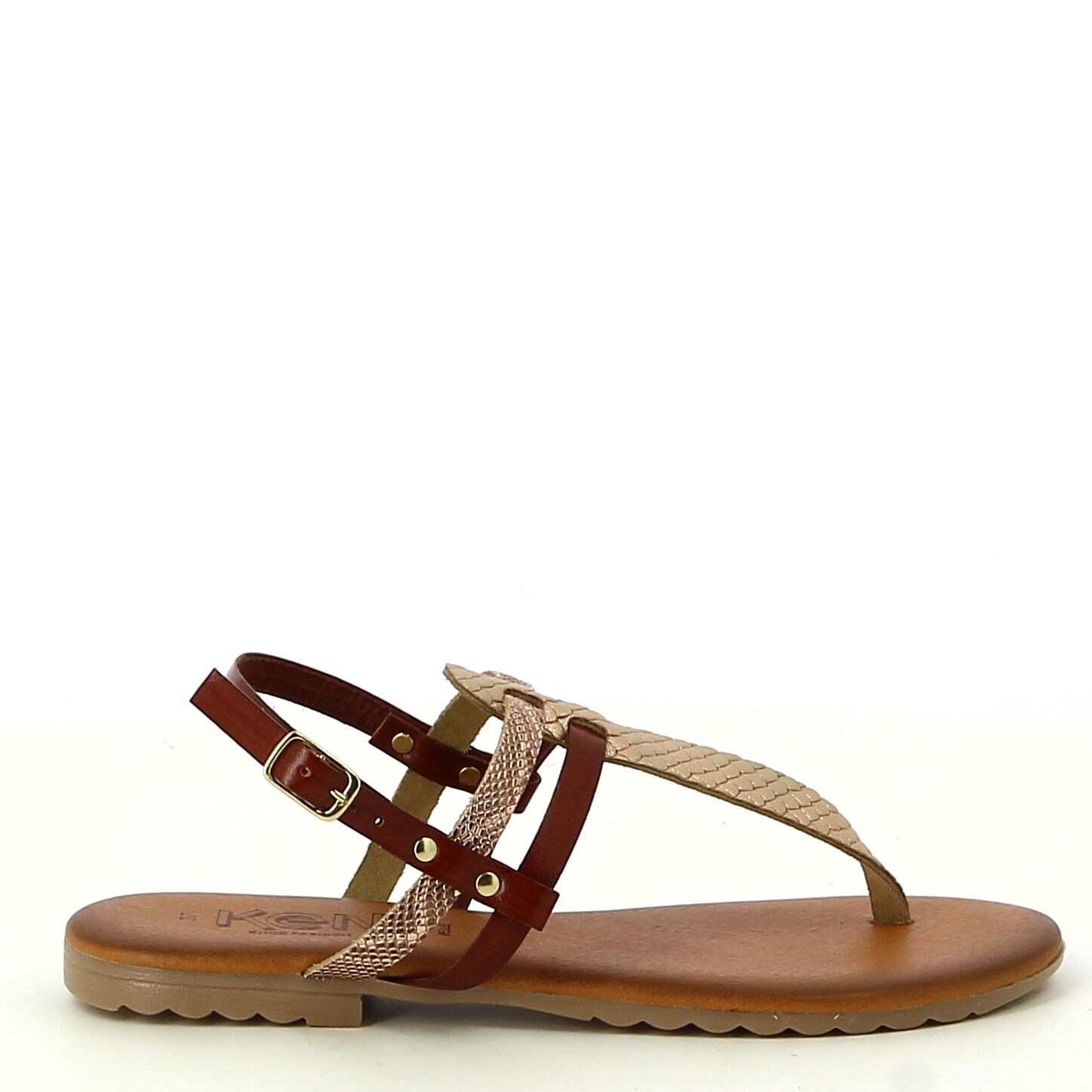 Ken Shoe Fashion - Bruin/Rose Goud - Sandalen