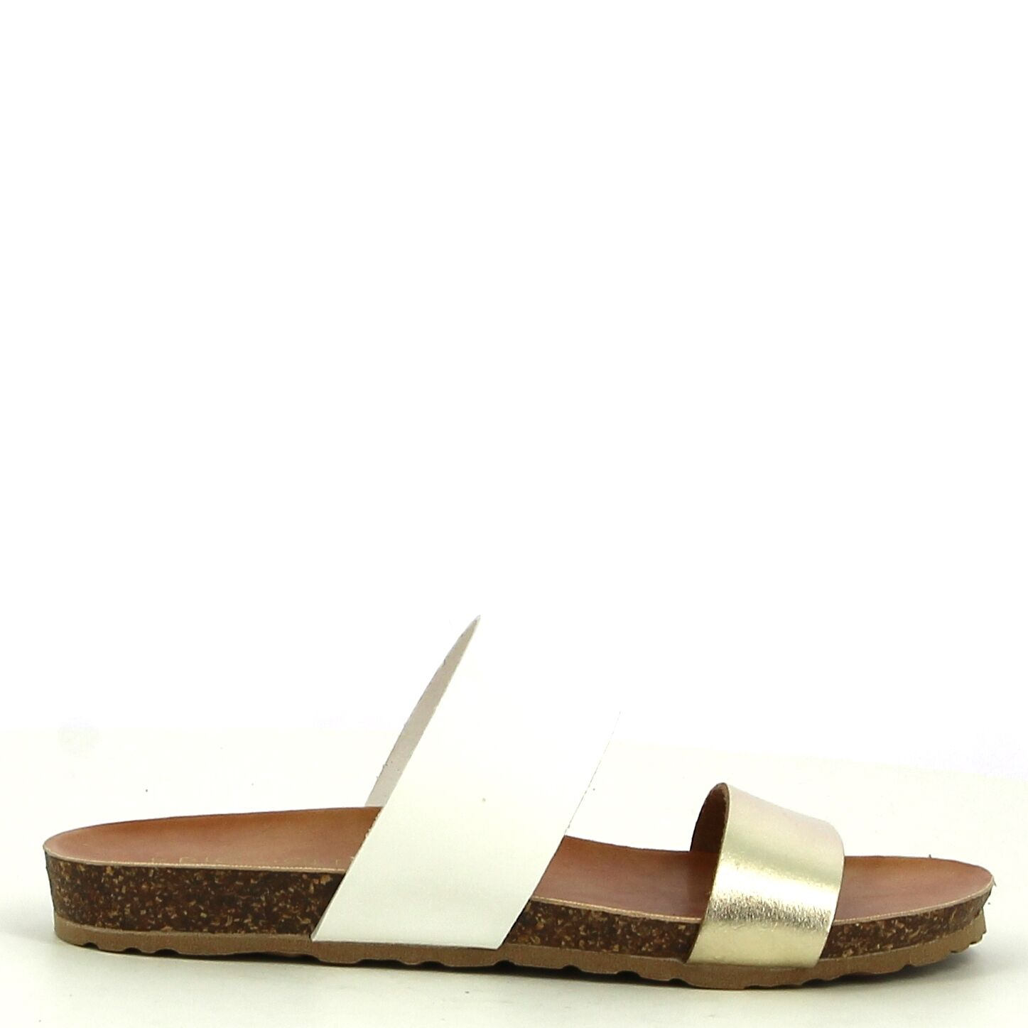 Ken Shoe Fashion -Nu-Pieds - Doré/Blanc