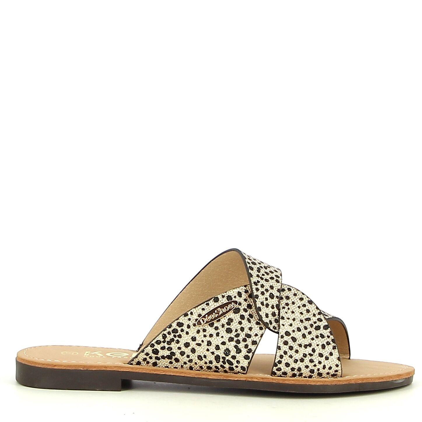 Ken Shoe Fashion - Nu-Pieds - Doré/Léopard