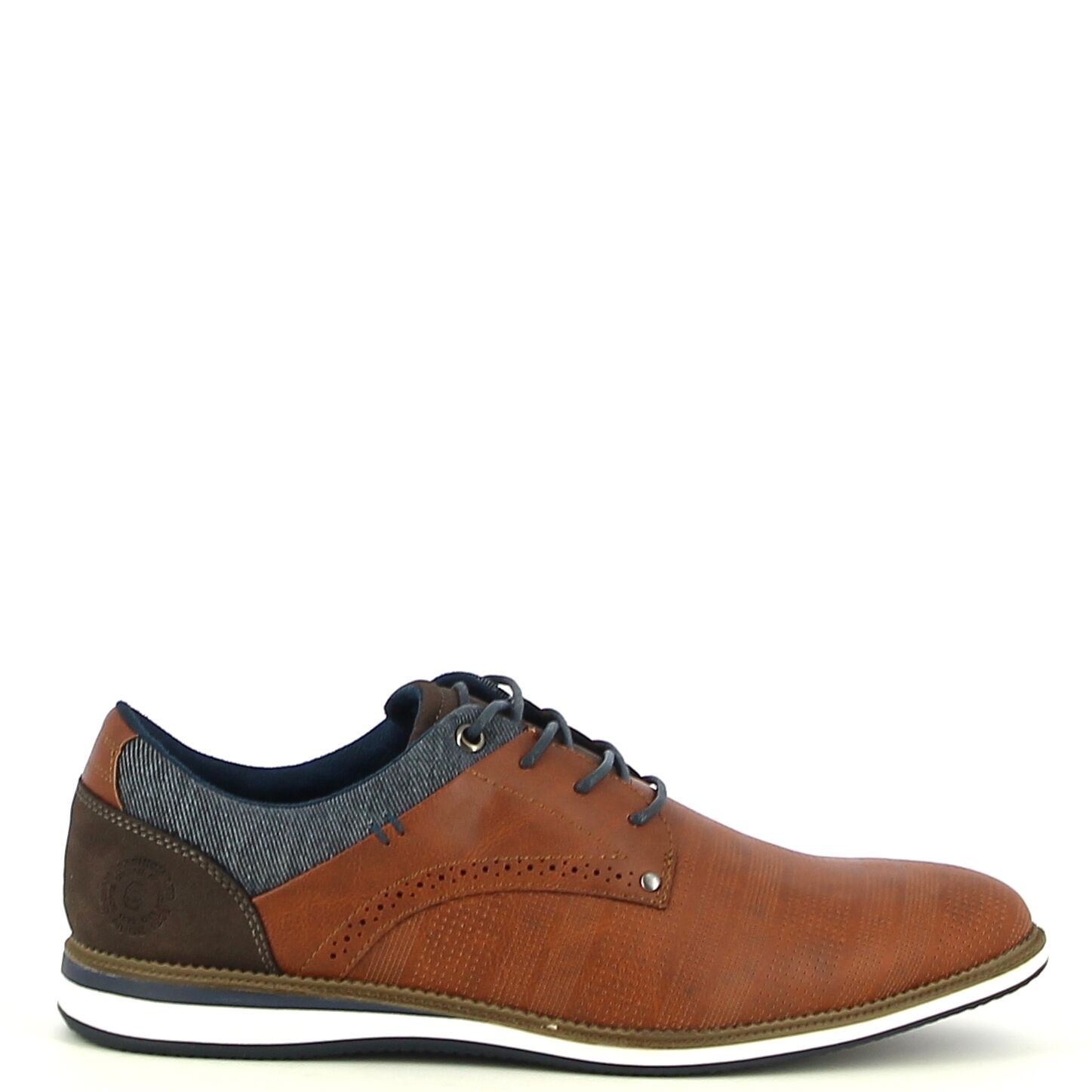 Ken Shoe Fashion - Camel veterschoen met blauwe details