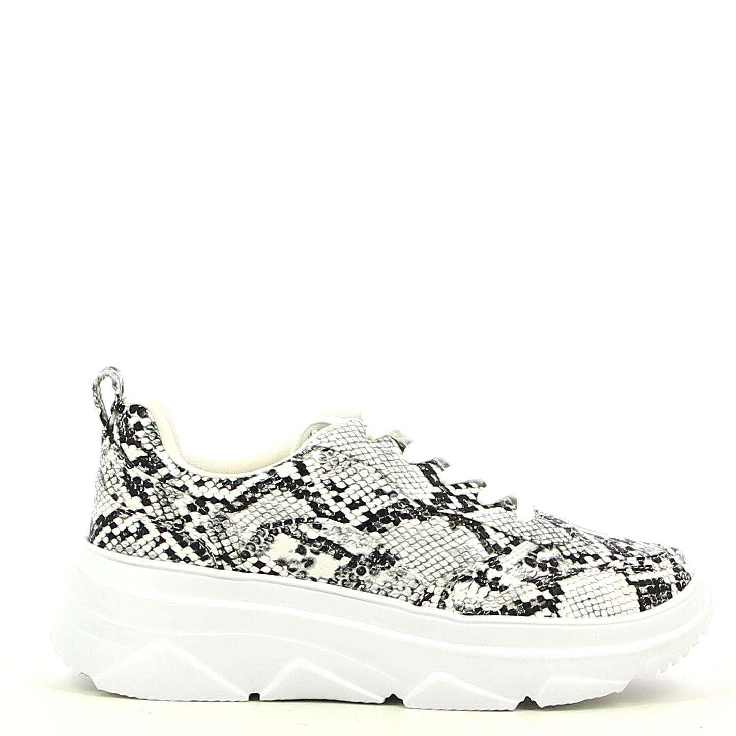 Ken Shoe Fashion - Wit/Zwart/Snake - Sneakers