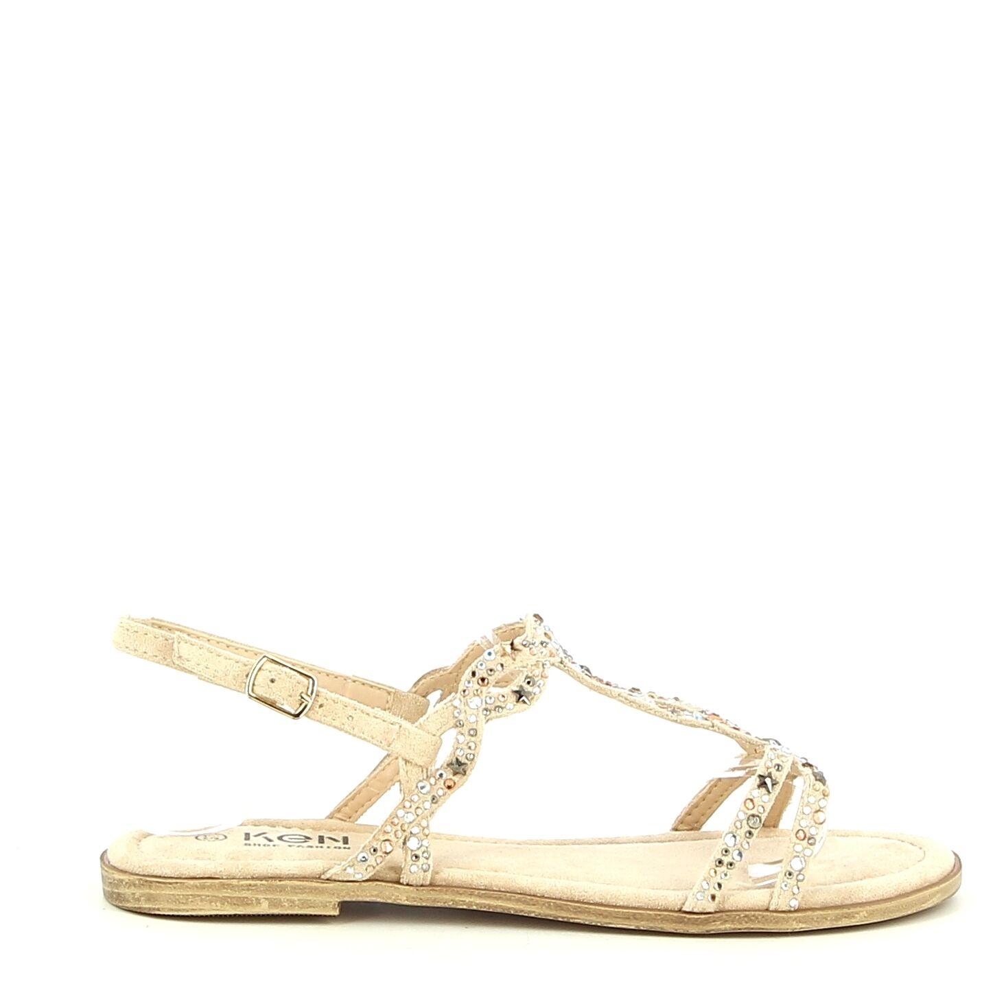Ken Shoe Fashion - Beige/Goud  met steentjes - Sandalen